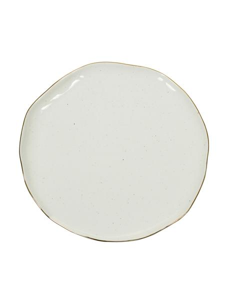 Handgemaakte dinerborden Bella met goudkleurige rand, 2 stuks, Porselein, Crèmewit, Ø 26 x H 3 cm