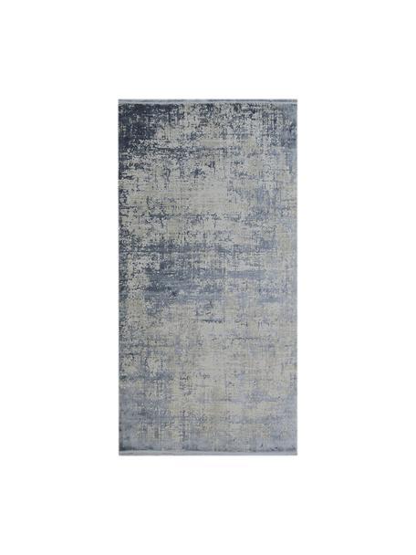 Alfombra con flecos Cordoba, estilo vintage, Parte superior: 70%acrílico, 30%viscosa, Reverso: algodón, Azul, gris, An 80 x L 150 cm (Tamaño XS)