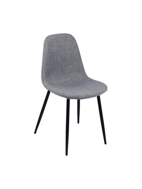 Gestoffeerde stoelen Karla, 2 stuks, Bekleding: 100 % polyester, Poten: metaal, Bekleding: lichtgrijs. Poten: zwart, B 44 x D 53 cm
