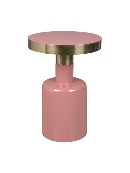 Geglazuurde bijzettafel Glam in roze, Tafelblad: geëmailleerd metaal, Frame: gepoedercoat metaal, Roze, Ø 36 x H 51 cm