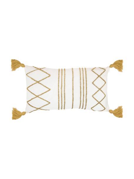 Kissenhülle Istanbul mit Hoch-Tief-Muster aus Chenille und Quasten, 100% Baumwolle, Weiß, Gelb, 30 x 50 cm