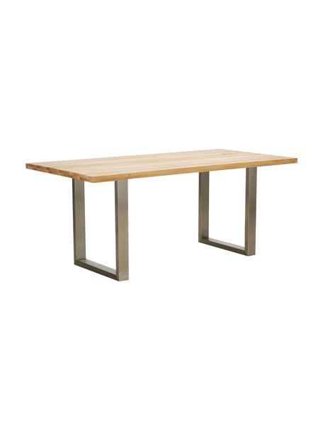Mesa de comedor Oliver, tablero de madera maciza, Tablero: madera de roble maciza y , Patas: acero mate lacado, Roble natura, acero inoxidable cepillado mate, An 180 x F 90 cm