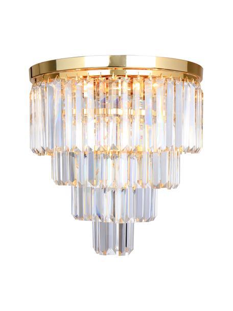 Lámpara araña Gracja, Pantalla: vidrio, Estructura: metal, Dorado, transparente, Ø 40 x Al 40 cm