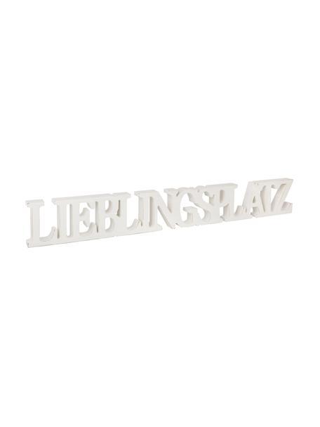 Deko-Objekt Lieblingsplatz, Mitteldichte Faserplatte (MDF), lackiert, Weiß, 60 x 8 cm