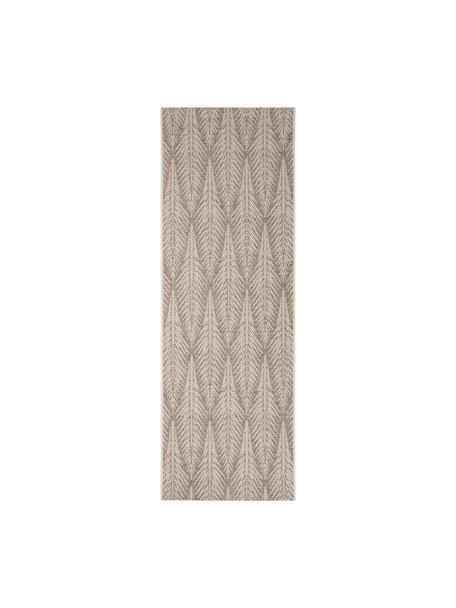 Design in- &  outdoor loper Pella met grafisch patroon, 100% polypropyleen, Taupe, beige, 70 x 200 cm