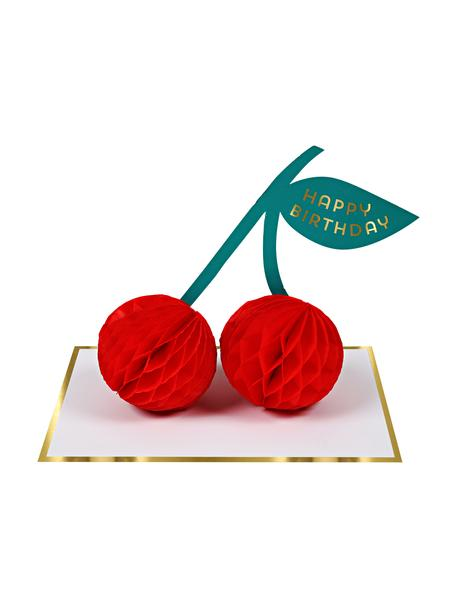 Biglietto d'auguri Cherries, Carta, Bianco, dorato, rosso, verde, Lung. 13 x Larg. 19 cm