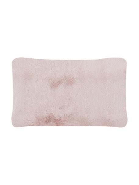 Flauschige Kunstfell-Kissenhülle Mette in Rosa, glatt, Vorderseite: 100% Polyester, Rückseite: 100% Polyester, Rosa, 30 x 50 cm