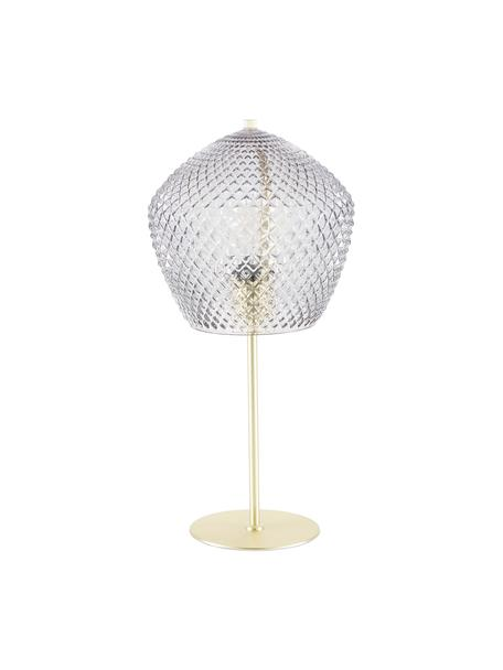 Tischlampe Orbiform mit Glasschirm, Lampenschirm: Glas, Lampenfuß: Metall, beschichtet, Gold, Transparent, Ø 23 x H 47 cm