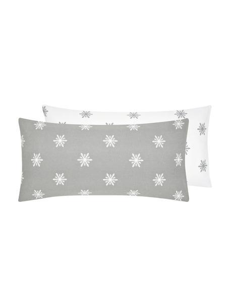 Flanell-Wendekissenbezüge Alba mit Schneeflocken, 2 Stück, Webart: Flanell Flanell ist ein s, Hellgrau, Weissweiss, 40 x 80 cm