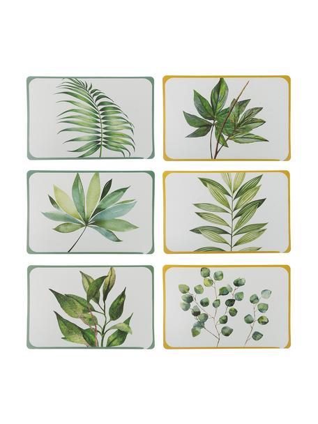 Manteles individuales de plástico Botanique, 6uds., Plástico, Blanco, verde, amarillo, An 45 x F 30 cm