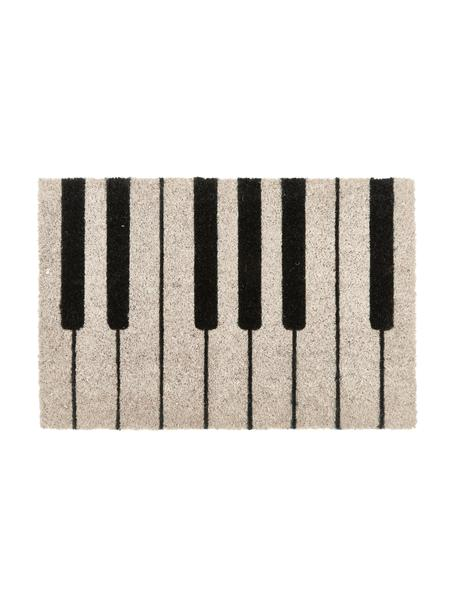 Deurmat Piano, Bovenzijde: kokosvezels, Onderzijde: kunststof (PVC), Zwart, crèmekleurig, 40 x 60 cm