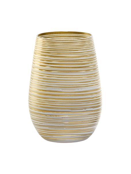 Kryształowa szklanka do koktajli  Twister, 6 szt., Szkło kryształowe, powlekany, Biały, odcienie złotego, Ø 9 x W 12 cm
