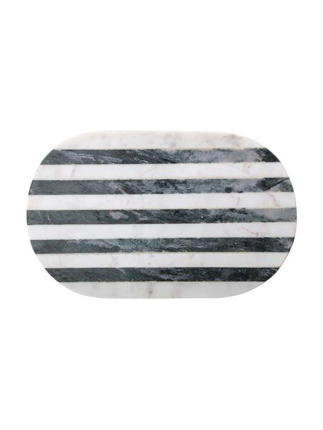 Marmeren snijplank Stripes, Marmer, Zwart, wit, 23 x 37 cm