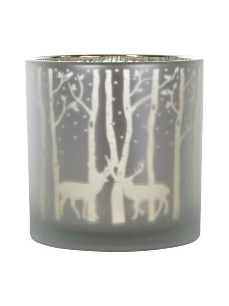 Windlicht Forest, Glas, Grijs, zilverkleurig, Ø 15 x H 15 cm