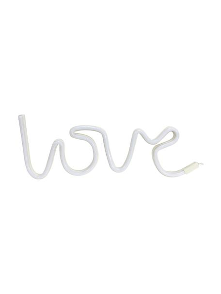Oggetto luminoso a LED Love, Materiale sintetico, Bianco, Larg. 40 x Alt. 17 cm