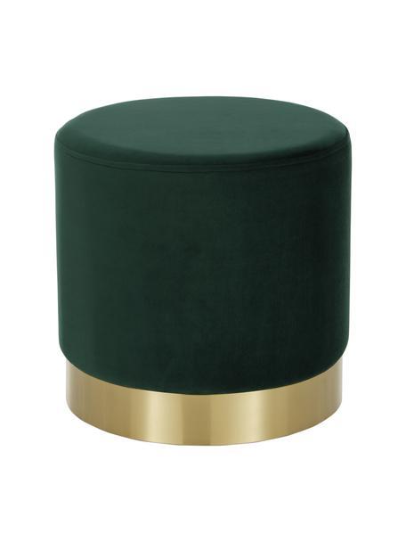 Pouf in velluto verde Orchid, Rivestimento: velluto (100% poliestere), Struttura: compensato, Rivestimento: verde chiaro. Base: dorato, Ø 38 x Alt. 38 cm