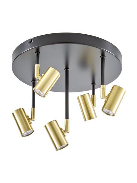 Plafoniera a LED orientabile Tony, Baldacchino: metallo verniciato a polv, Baldacchino: nero opaco Prese: ottonato, Ø 30 x Alt. 26 cm