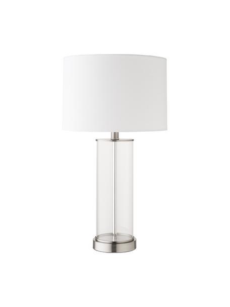 Lampa ze szkła i lnu Abigail, Nikiel, Ø 32 x W 61 cm