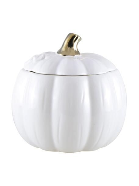 Bote Pumpkin, Cerámica, Blanco, dorado, Ø 12 x Al 14 cm