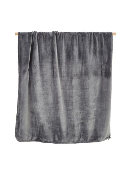 Manta de tela polar Doudou, 100%poliéster, Gris antracita, An 130 x L 160 cm