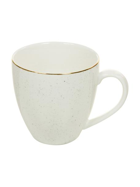 Handgemaakte koffiekopjes Bella met goudkleurige rand, 2 stuks, Porselein, Crèmewit, Ø 9 x H 9 cm