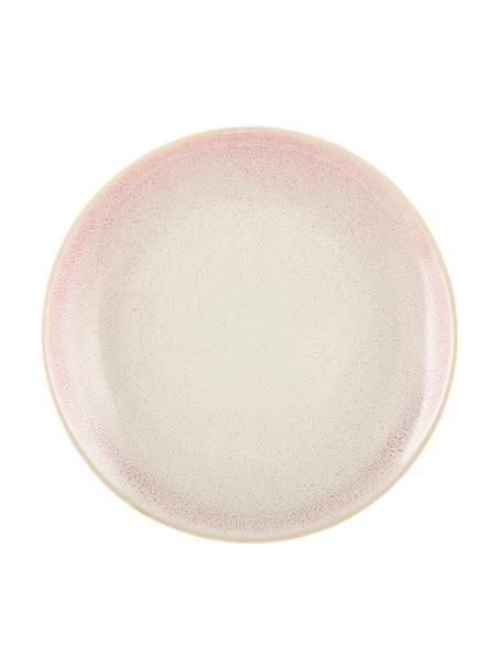 Handgemachte Frühstücksteller Amalia mit effektvoller Glasur, 2 Stück, Porzellan, Hellrosa, Cremeweiß, Ø 20 cm