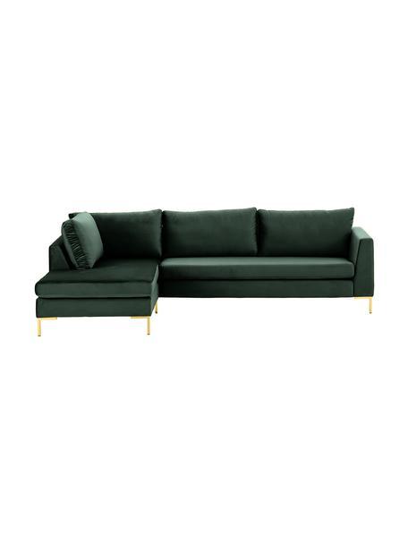 Sofa narożna z aksamitu z metalowymi nogami Luna, Tapicerka: aksamit (poliester) Dzięk, Nogi: metal galwanizowany, Aksamitny ciemny zielony, złoty, S 280 x G 184 cm