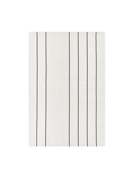 Tappeto in cotone tessuto a mano David, 100% cotone, Bianco latteo, nero, Larg. 120 x Lung. 180 cm (taglia S)