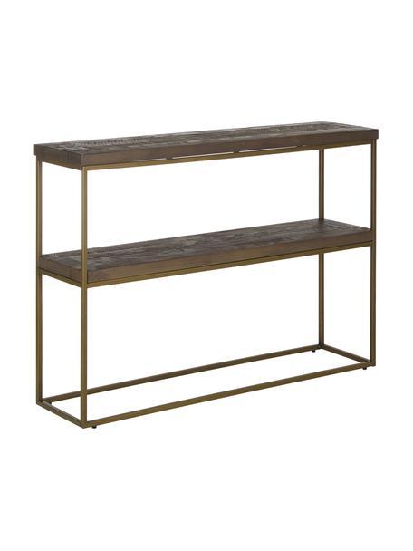 Konsola industrial Dalton, Stelaż: metal lakierowany, Półki: szarobrązowy z widoczną strukturą drewna Stelaż: złoty, S 121 x W 84 cm