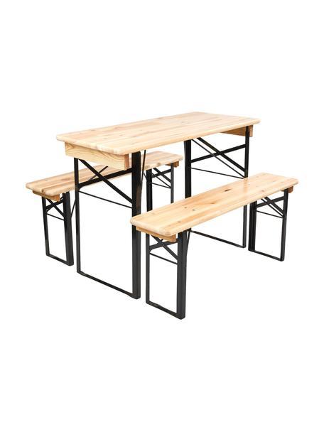 Tavolo e panchine da giardino Good Company, Legno di pino, metallo, verniciato, Legno di pino, nero, Set in varie misure