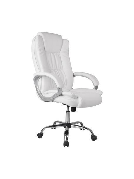 Silla de oficina Karen, Estructura: acero y PVC, Tapizado: piel sintética, Blanco, An 68 x Al 113 cm