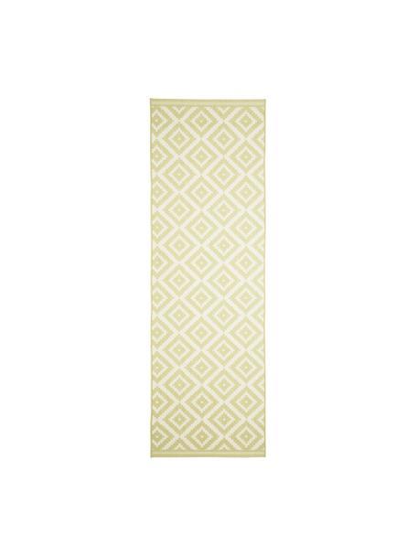 In- & outdoor loper met patroon Miami in geel/wit, 86% polypropyleen, 14% polyester, Wit, geel, 80 x 250 cm