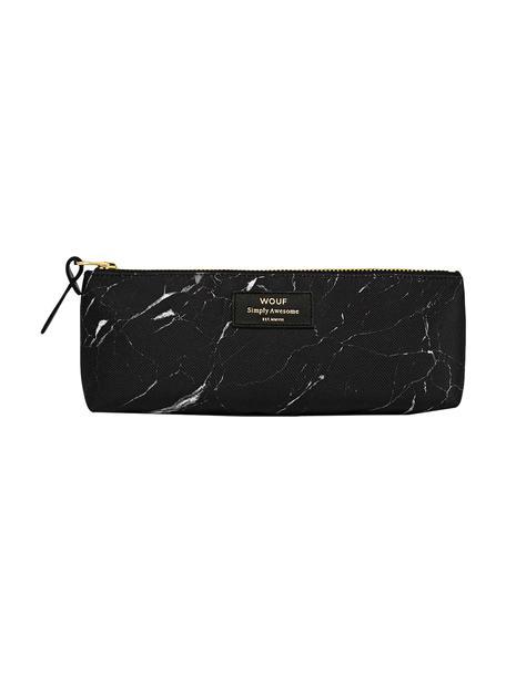 Stifte-Etui Black Marble, Polyester, Leder, Schwarz, marmoriert, 22 x 9 cm