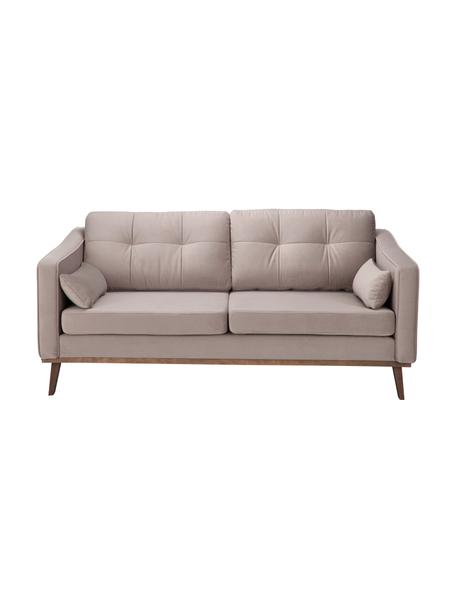 Sofa z aksamitu z drewnianymi nogami Alva (2-osobowa), Tapicerka: aksamit (wysokiej jakości, Nogi: lite drewno bukowe, barwi, Aksamitny taupe, S 184 x G 92 cm