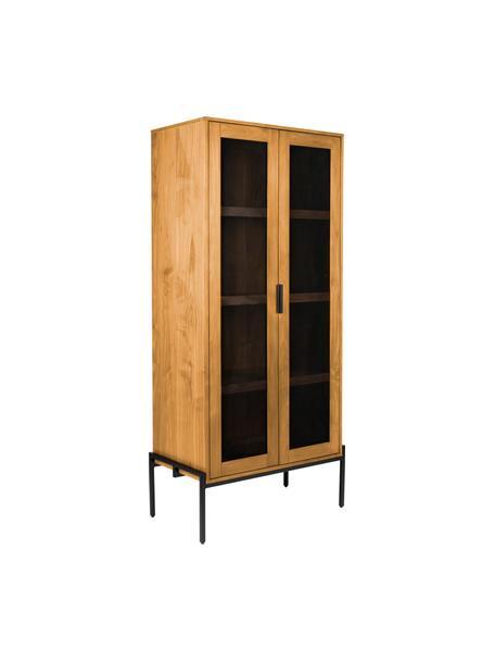 Dressoir Hardy van hout en metaal, Frame: MDF met eikenhoutfineer, , Poten: gecoat metaal, Eikenhoutkleurig, zwart, 80 x 180 cm