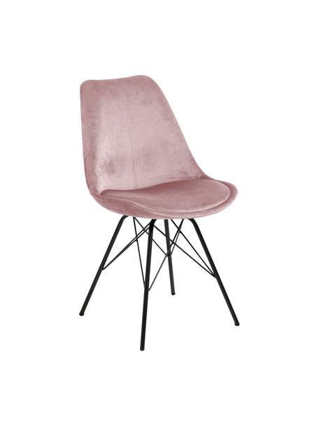 Fluwelen stoelen Eris, 2 stuks, Polyester fluweel, metaal, Oudroze, zwart, B 49 x D 54 cm
