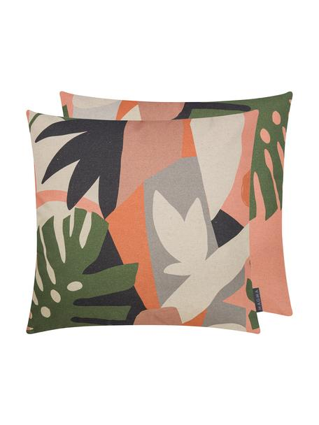 Dwustronna poszewka na poduszkę Images, 85% bawełna, 15% len, Blady różowy, wielobarwny, S 50 x D 50 cm