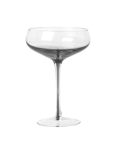 Mundgeblasene Champagnerschalen Smoke mit grauem Farbverlauf, 4er-Set, Glas, Transparent, Rauchgrau, Ø 11 x H 16 cm