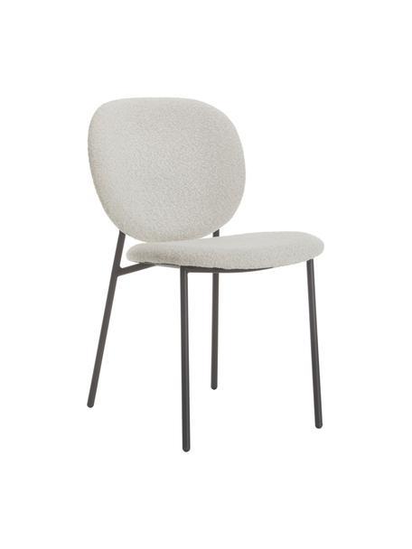 Bouclé-gestoffeerde stoelen Ulrica in crèmewit, 2 stuks, Bekleding: 100% polyester, Poten: gepoedercoat metaalkleuri, Crèmewit, 47 x 61 cm