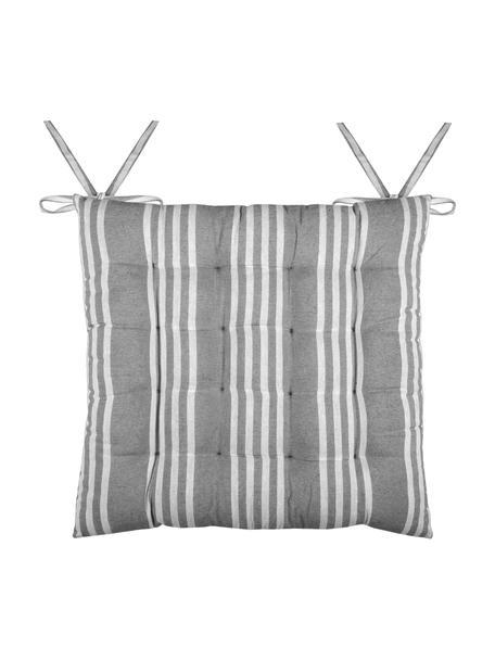 Gestreifte Sitzauflage Mandelieu in Grau, Baumwollgemisch, Dunkelgrau, Weiss, 40 x 40 cm