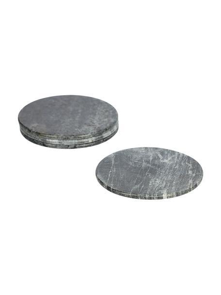 Marmeren onderzettersset Tressa, 4-delig, Marmer, Gemarmerd grijs, Ø 10 x H 1 cm