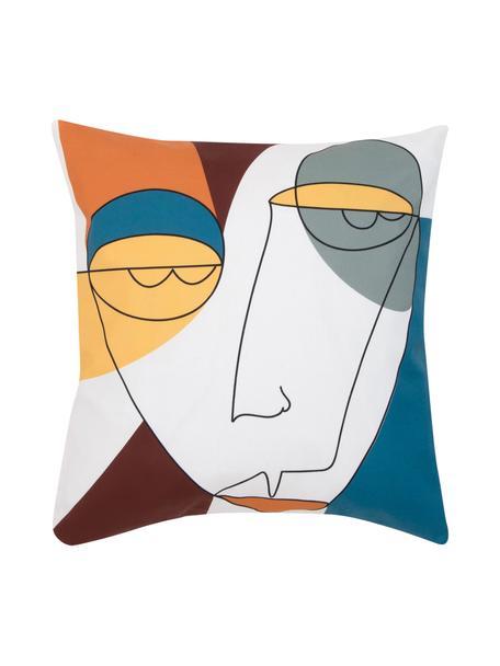 Kussenhoes Adrian met abstracte print in kleur, Weeftechniek: panama, Wit, multicolour, 40 x 40 cm