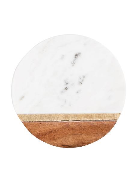 Posavasos de mármol Luxory Kitchen, 4uds., Mármol, madera de acacia, latón, Blanco, acacia, latón, Ø 10 x Al 2 cm