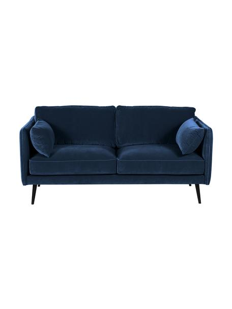 Samt-Sofa Paola (2-Sitzer) in Blau mit Holz-Füßen, Bezug: Samt (Polyester) 70.000 S, Gestell: Massives Fichtenholz, Spa, Füße: Fichtenholz, lackiert, Samt Blau, B 179 x T 95 cm