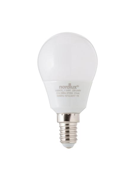 Lampadina a LED Azer (E14 / 4Watt), Paralume: vetro opale, Base lampadina: alluminio, Bianco, Ø 5 x Alt. 9 cm