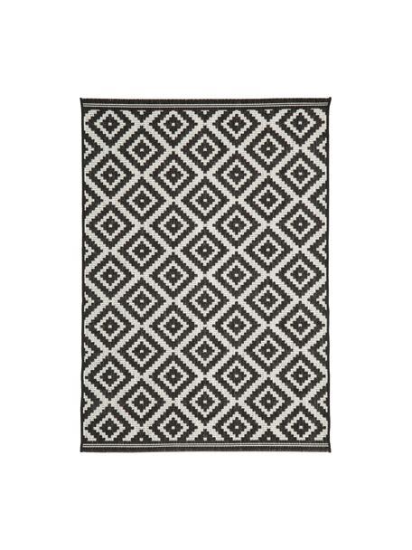 Tappeto da interno-esterno Miami, Retro: poliestere, Bianco crema, nero, Larg. 120 x Lung. 170 cm (taglia S)