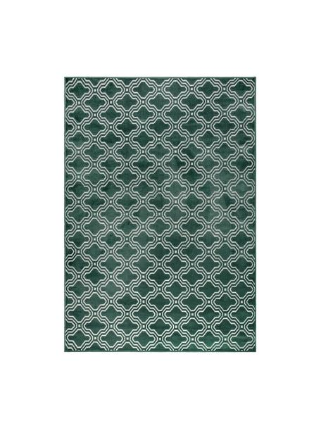 Vloerkleed Feike met hoog-laag effect in donkergroen, Bovenzijde: 52%viscose, 36%katoen, , Onderzijde: synthetisch rubber, Groen, B 160 x L 230 cm (maat M)