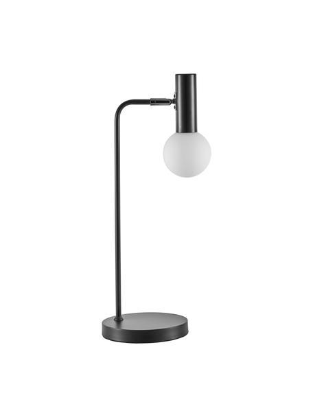 Grote tafellamp Wilson met glazen lampenkap, Lampvoet: gepoedercoat metaal, Fitting: gepoedercoat metaal, Lampenkap: glas, Zwart, 22 x 54 cm
