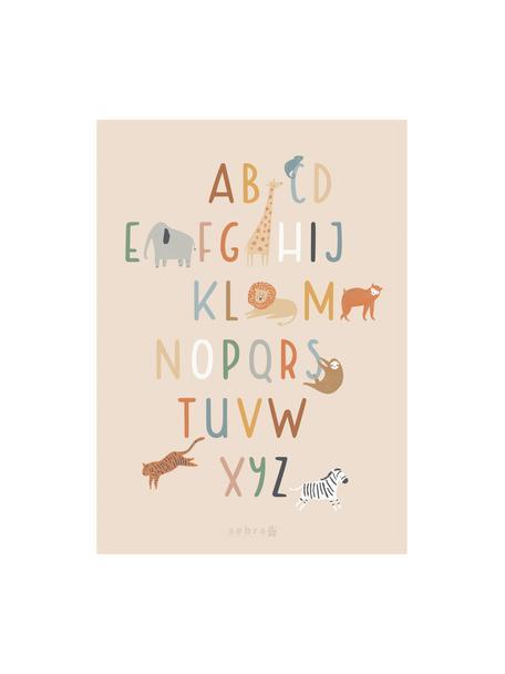 Póster Wildlife Letters, Papel recubierto, 250g/m², Multicolor, An 50 x Al 70 cm