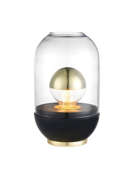 Kleine tafellamp Pillola met houten voet, Lampenkap: glas, Lampvoet: gelakt hout, Voetstuk: metaal, Transparant, zwart, Ø 14 x H 24 cm